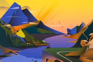 A landscape, illustrated in a simple geometric style with vibrant colors.